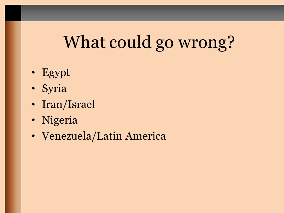 What could go wrong? Egypt Syria Iran/Israel Nigeria Venezuela/Latin America