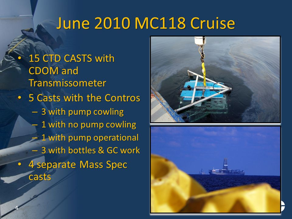 June 2010 MC118 Cruise 15 CTD CASTS with CDOM and Transmissometer 15 CTD CASTS with CDOM and Transmissometer 5 Casts with the Contros 5 Casts with the Contros – 3 with pump cowling – 1 with no pump cowling – 1 with pump operational – 3 with bottles & GC work 4 separate Mass Spec casts 4 separate Mass Spec casts 4