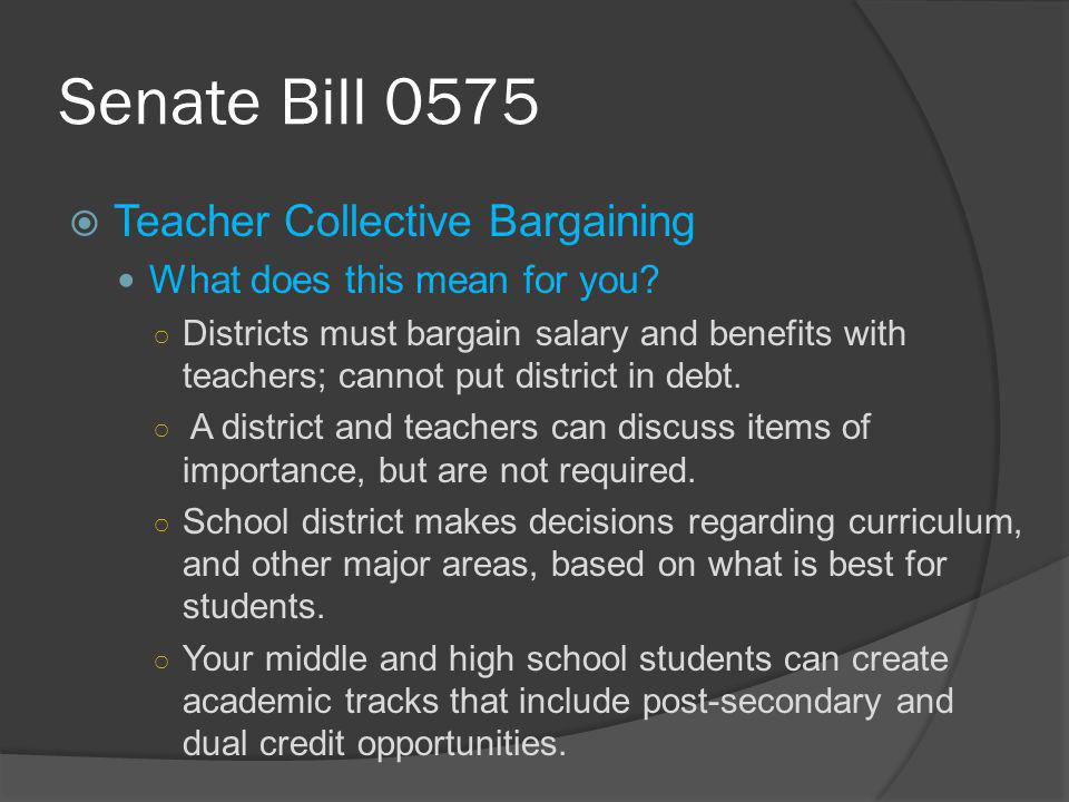 Senate Bill 0575  Teacher Collective Bargaining What does this mean for you.