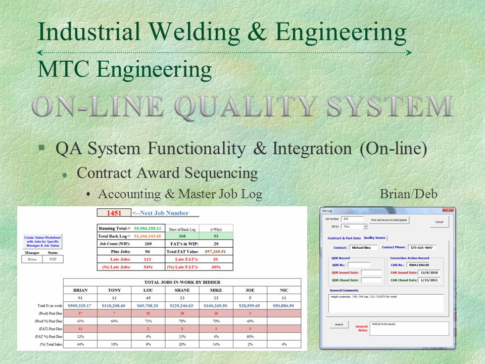 MTC Engineering Industrial Welding & Engineering §QA System Functionality & Integration (On-line) l Contract Award Sequencing Accounting & Master Job LogBrian/Deb