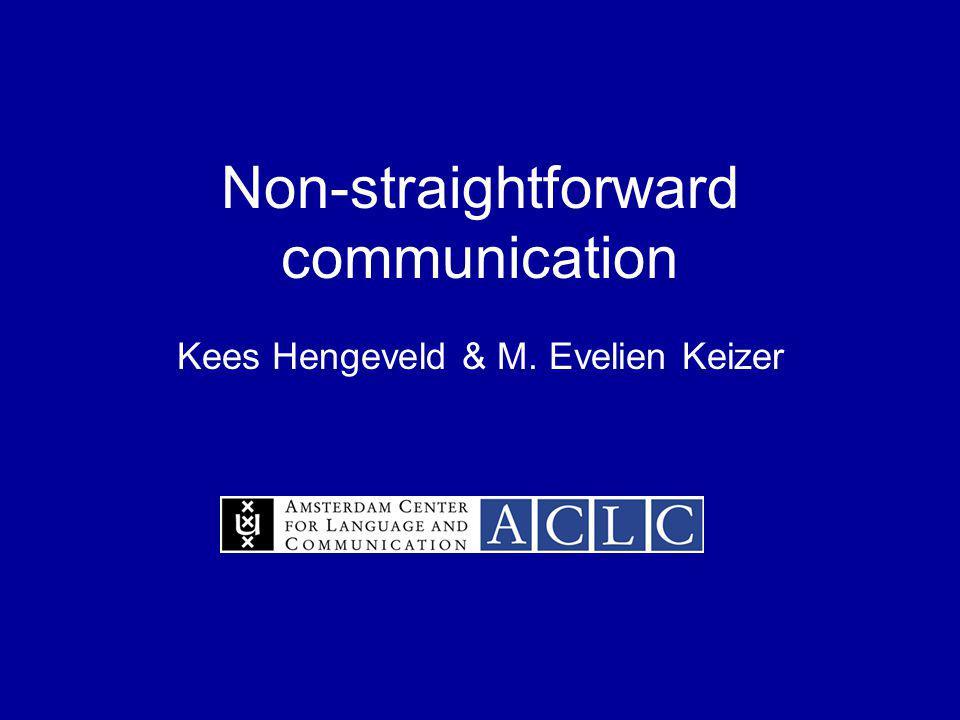 Non-straightforward communication Kees Hengeveld & M. Evelien Keizer