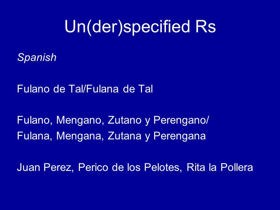 Un(der)specified Rs Spanish Fulano de Tal/Fulana de Tal Fulano, Mengano, Zutano y Perengano/ Fulana, Mengana, Zutana y Perengana Juan Perez, Perico de los Pelotes, Rita la Pollera