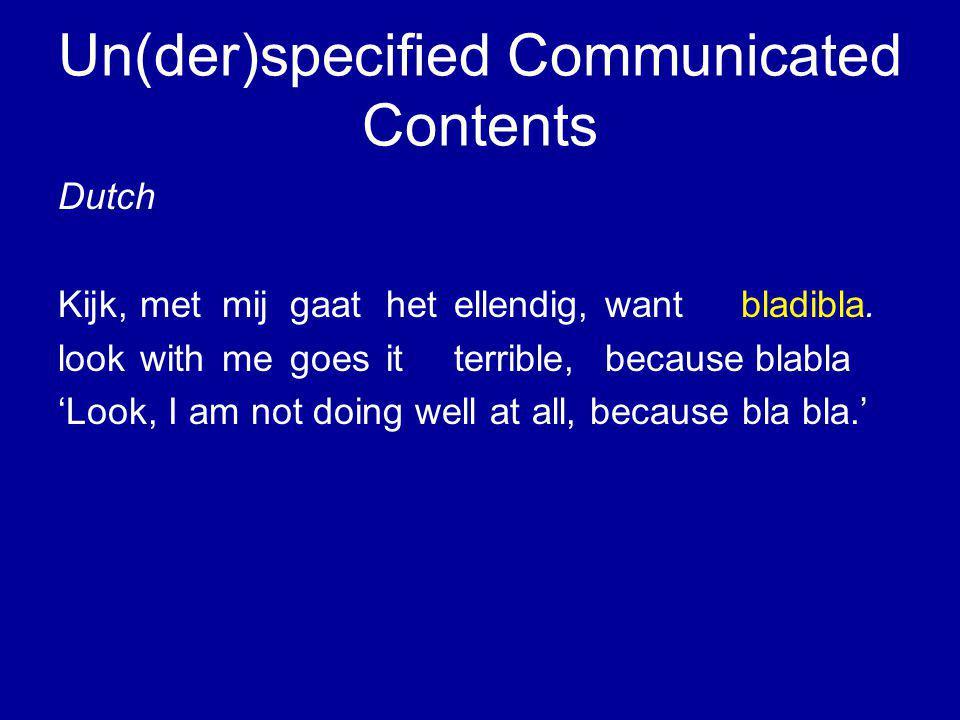 Un(der)specified Communicated Contents Dutch Kijk, met mij gaat het ellendig,wantbladibla.