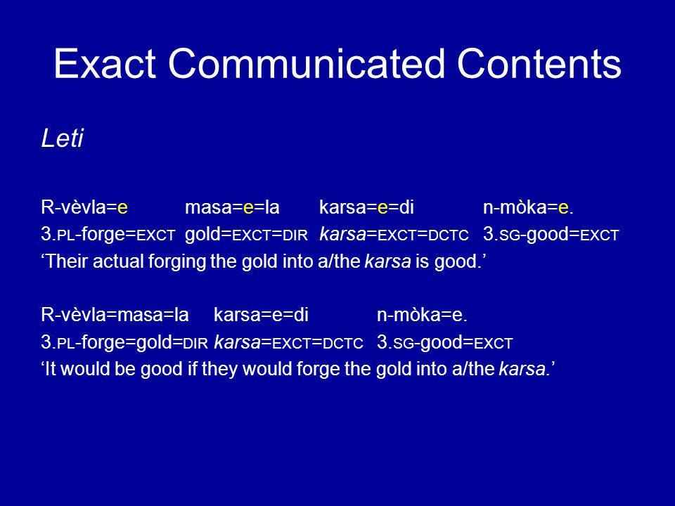 Exact Communicated Contents Leti R-vèvla=emasa=e=lakarsa=e=din-mòka=e.