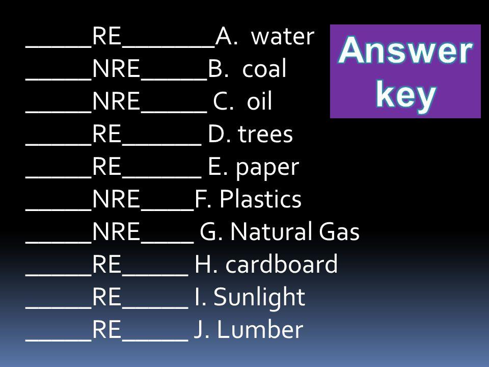 _____RE_______A.water _____NRE_____B. coal _____NRE_____ C.