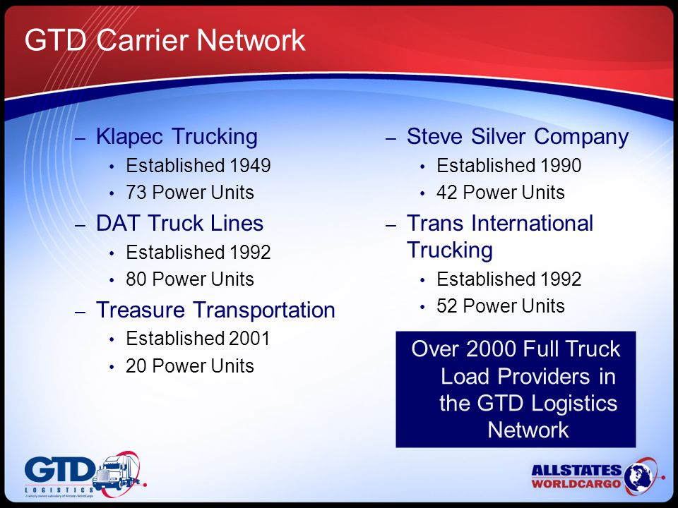 GTD Carrier Network – Klapec Trucking Established 1949 73 Power Units – DAT Truck Lines Established 1992 80 Power Units – Treasure Transportation Established 2001 20 Power Units – Steve Silver Company Established 1990 42 Power Units – Trans International Trucking Established 1992 52 Power Units Over 2000 Full Truck Load Providers in the GTD Logistics Network