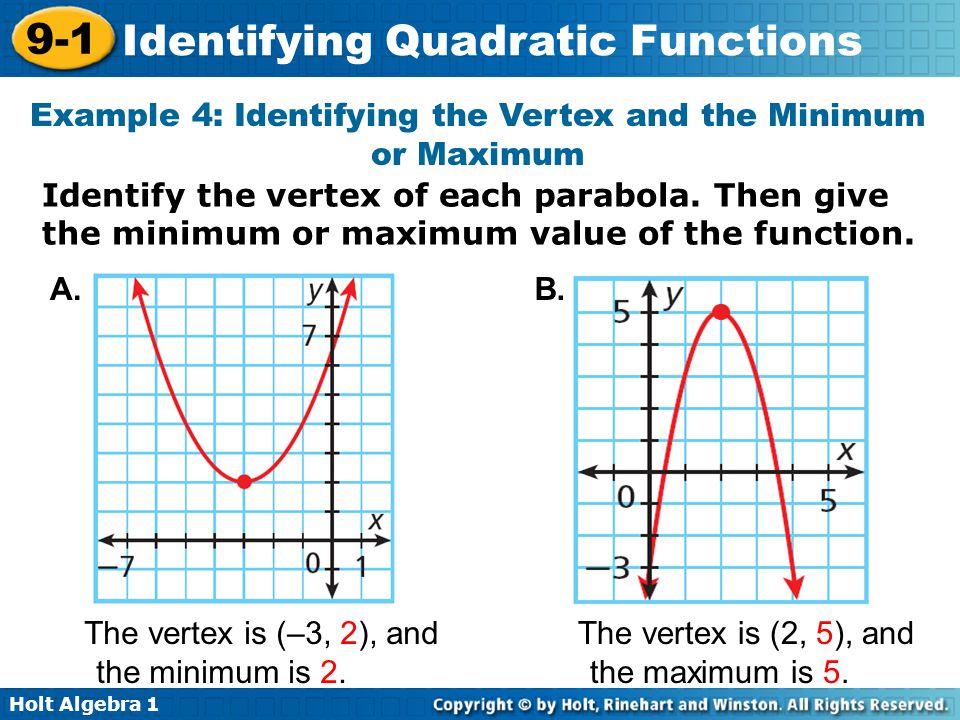 Holt Algebra 1 9-1 Identifying Quadratic Functions Example 4: Identifying the Vertex and the Minimum or Maximum Identify the vertex of each parabola.