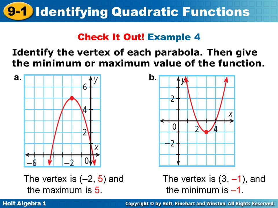 Holt Algebra 1 9-1 Identifying Quadratic Functions Check It Out! Example 4 Identify the vertex of each parabola. Then give the minimum or maximum valu