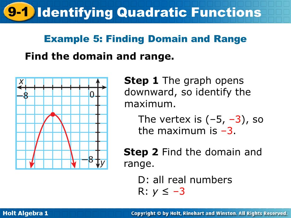 Holt Algebra 1 9-1 Identifying Quadratic Functions Example 5: Finding Domain and Range Find the domain and range. Step 1 The graph opens downward, so