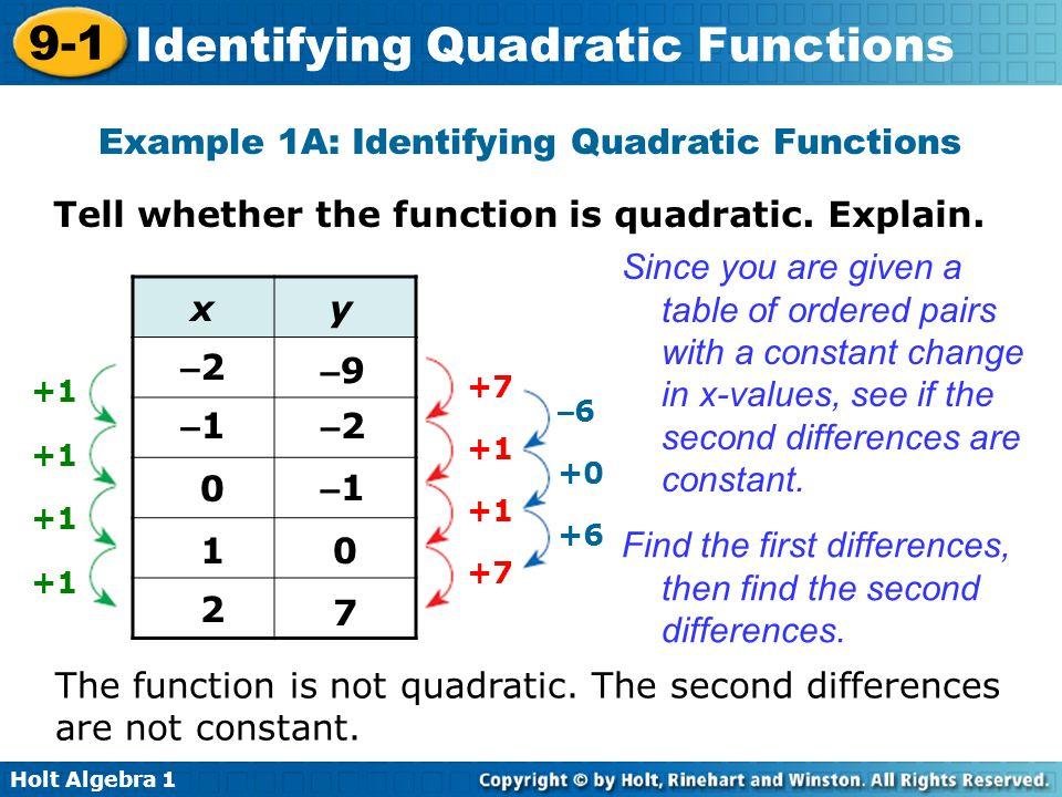 Holt Algebra 1 9-1 Identifying Quadratic Functions Example 1A: Identifying Quadratic Functions Tell whether the function is quadratic. Explain. Since