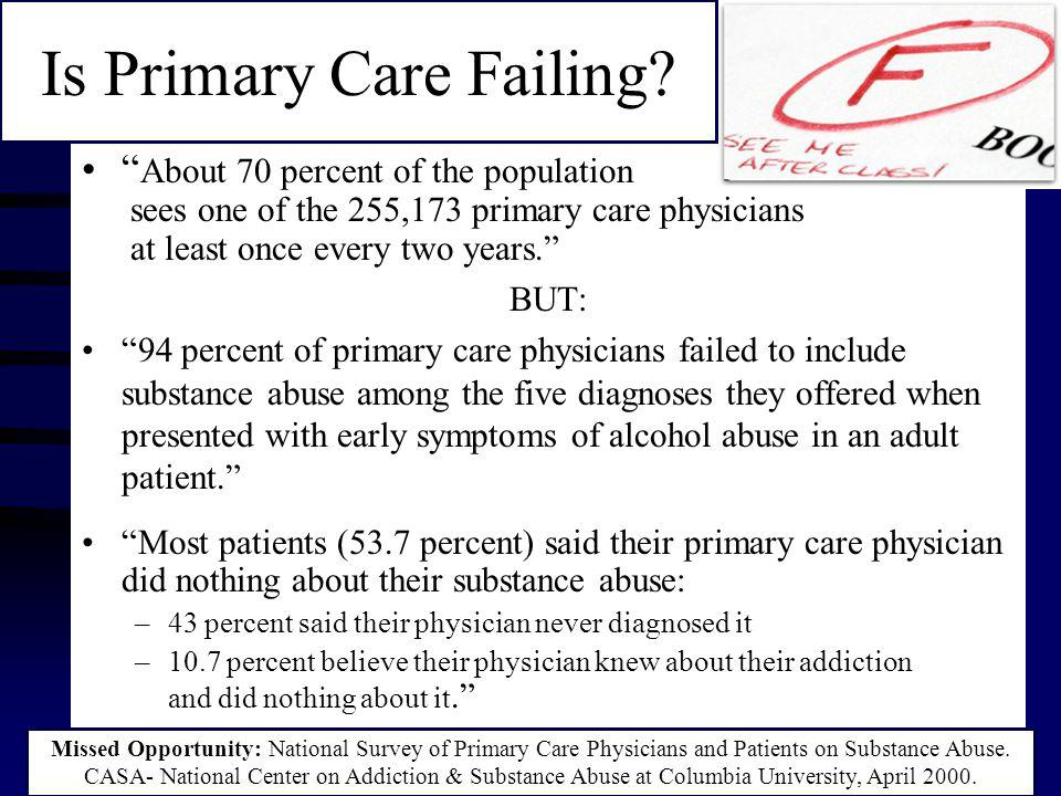 About 70 percent of the population sees one of the 255,173 primary care physicians at least once every two years. BUT: 94 percent of primary care physicians failed to include substance abuse among the five diagnoses they offered when presented with early symptoms of alcohol abuse in an adult patient. Most patients (53.7 percent) said their primary care physician did nothing about their substance abuse: –43 percent said their physician never diagnosed it –10.7 percent believe their physician knew about their addiction and did nothing about it. Missed Opportunity: National Survey of Primary Care Physicians and Patients on Substance Abuse.
