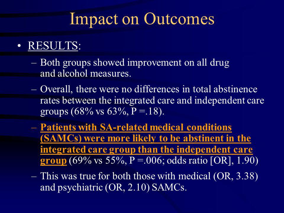 RESULTS: –Both groups showed improvement on all drug and alcohol measures.