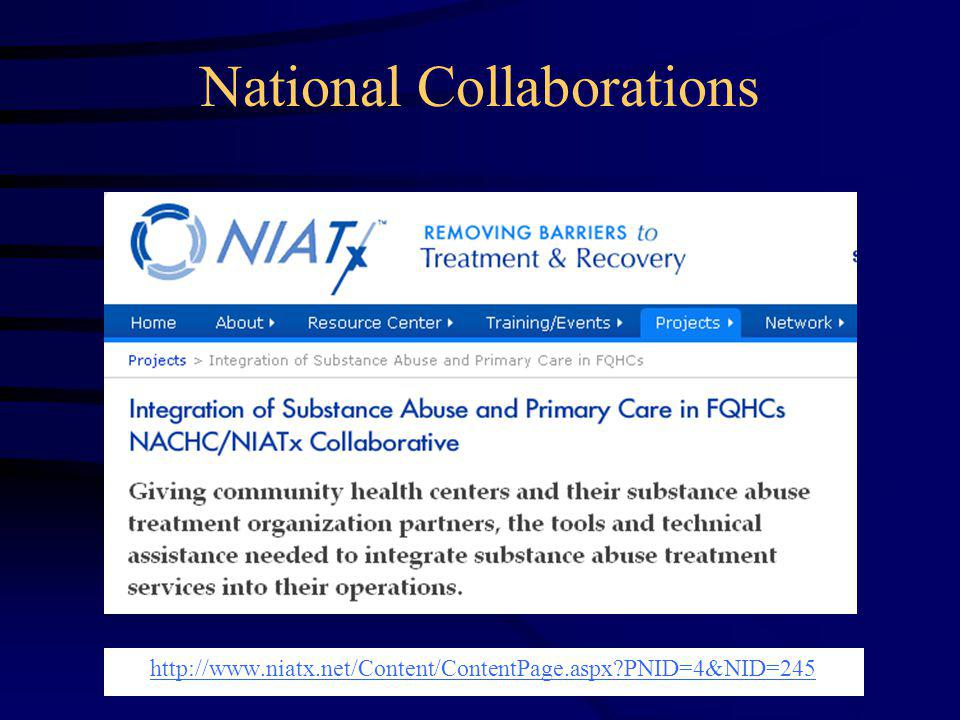 National Collaborations http://www.niatx.net/Content/ContentPage.aspx?PNID=4&NID=245