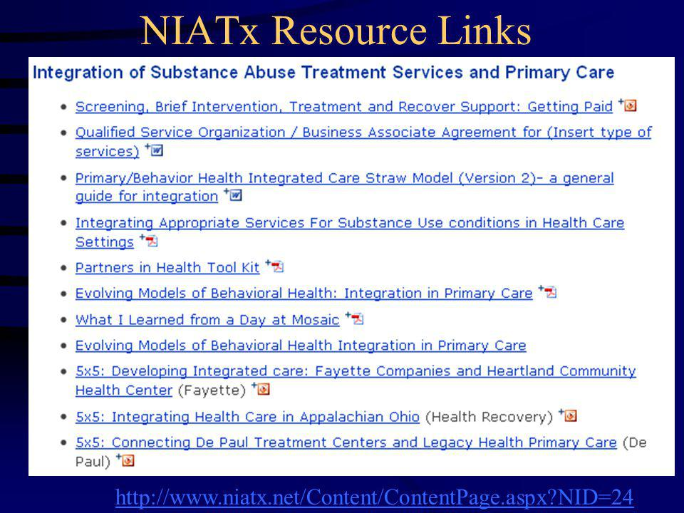 NIATx Resource Links http://www.niatx.net/Content/ContentPage.aspx NID=24 9#skip3