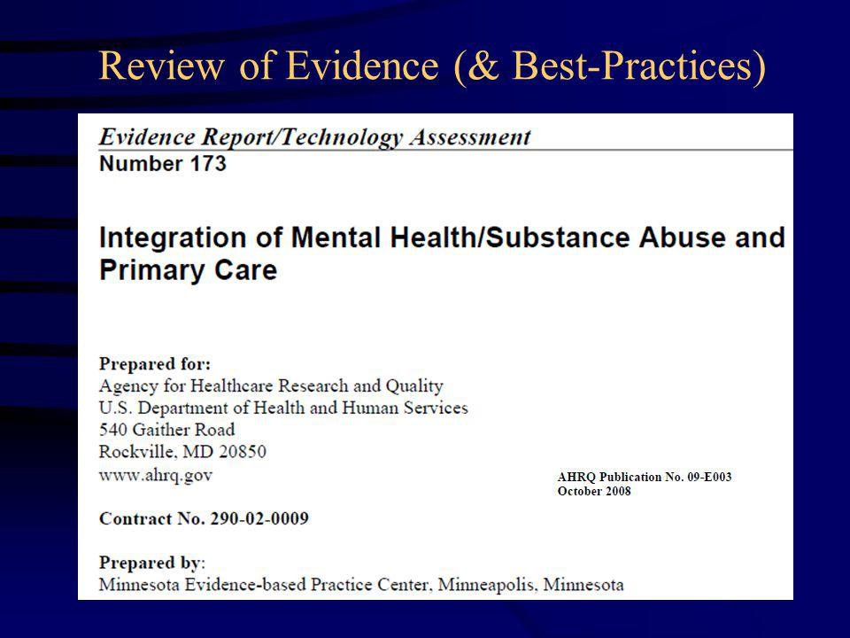 Review of Evidence (& Best-Practices)