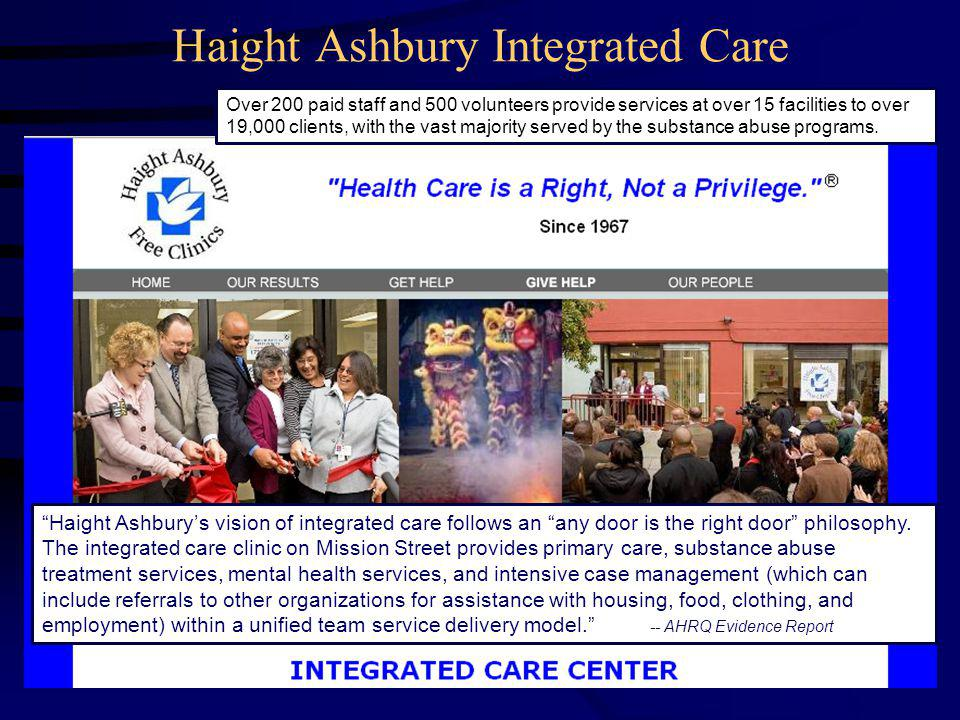 Haight Ashbury Integrated Care Haight Ashbury's vision of integrated care follows an any door is the right door philosophy.