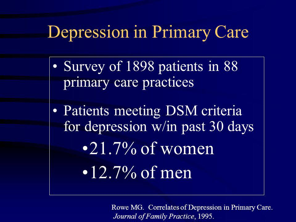 18% Prevalence of Alcohol Abuse or Dependence in Primary Care Why Primary Care.