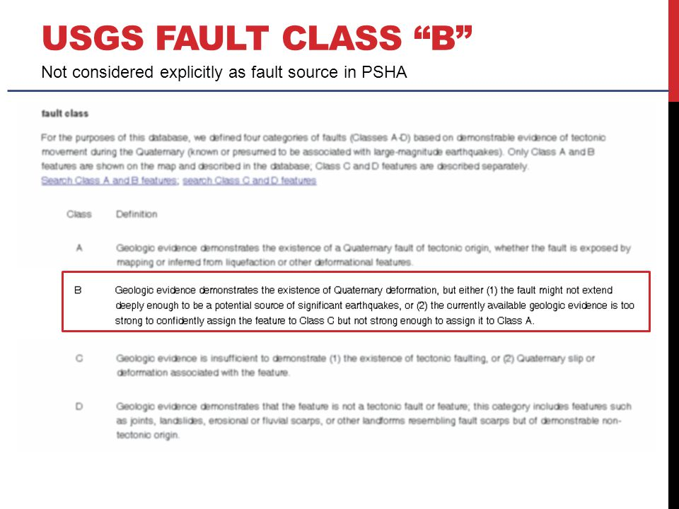 "USGS FAULT CLASS ""B"" Not considered explicitly as fault source in PSHA"