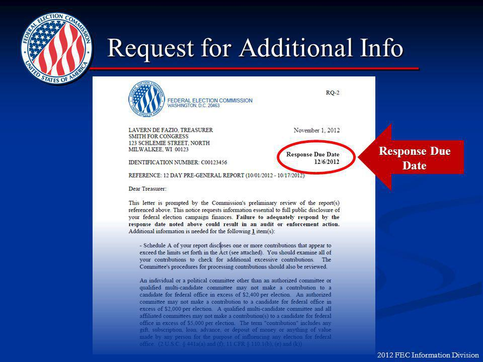 2012 FEC Information Division Request for Additional Info Response Due Date