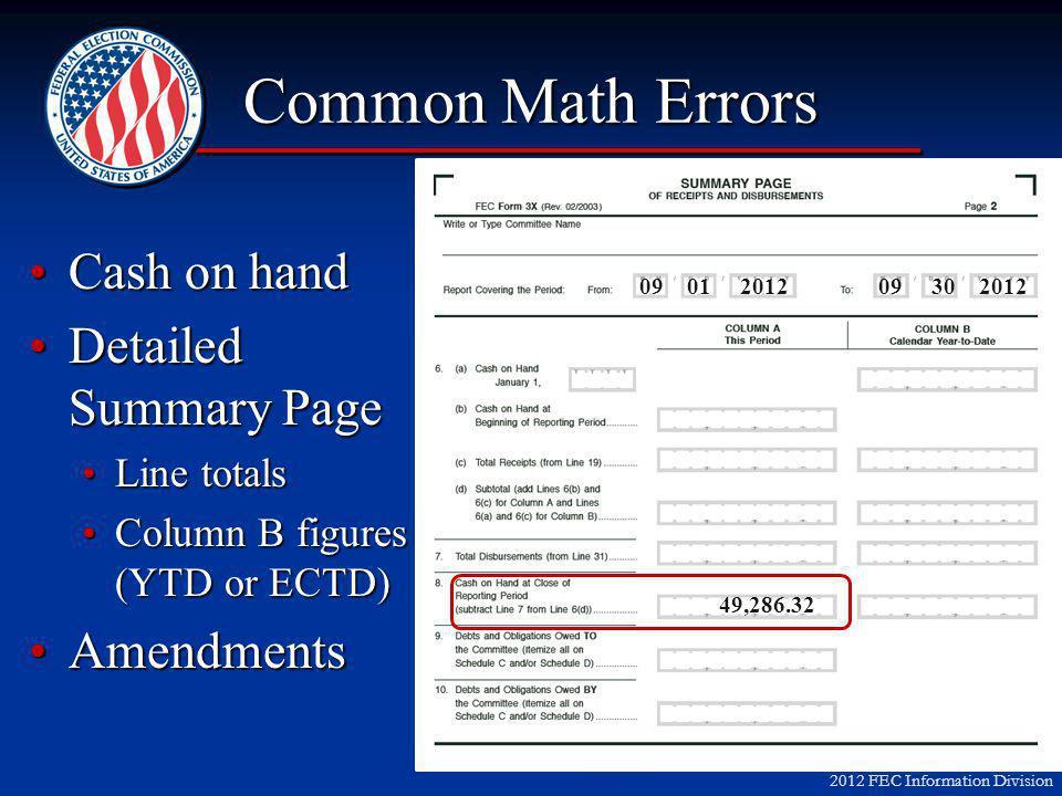 2012 FEC Information Division Common Math Errors Cash on handCash on hand Detailed Summary PageDetailed Summary Page Line totalsLine totals Column B figures (YTD or ECTD)Column B figures (YTD or ECTD) AmendmentsAmendments 49,286.32 09 01 201209 30 2012