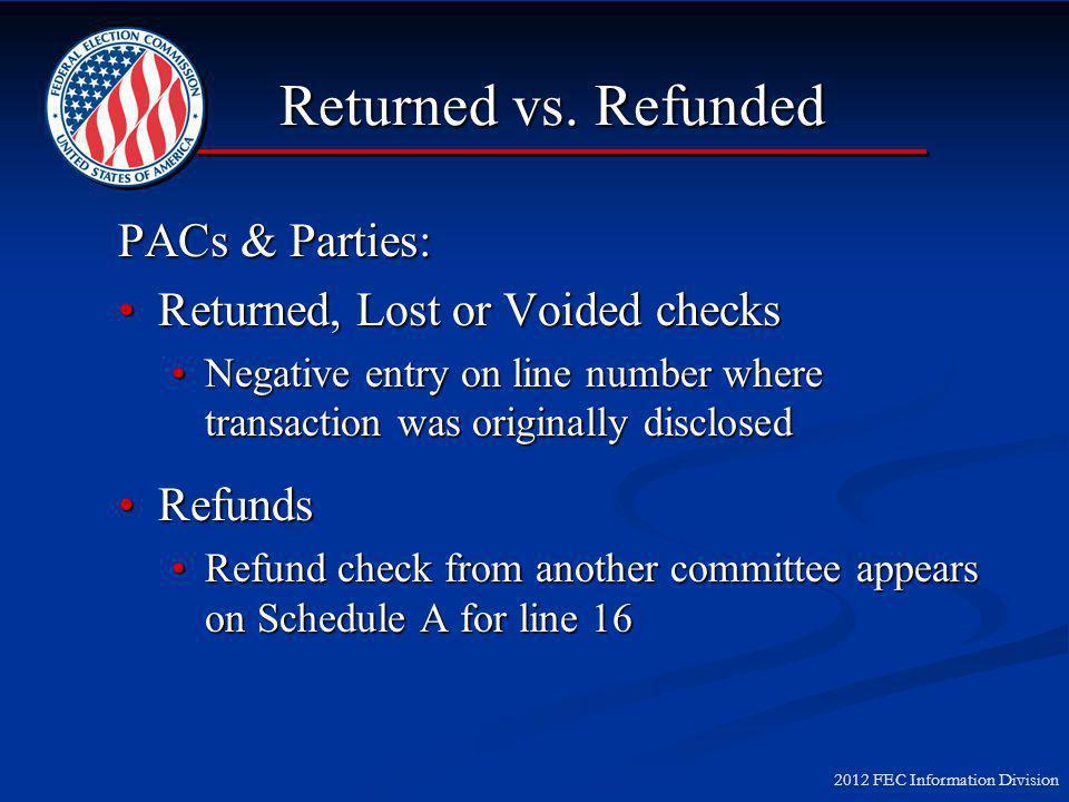 2012 FEC Information Division Returned vs.