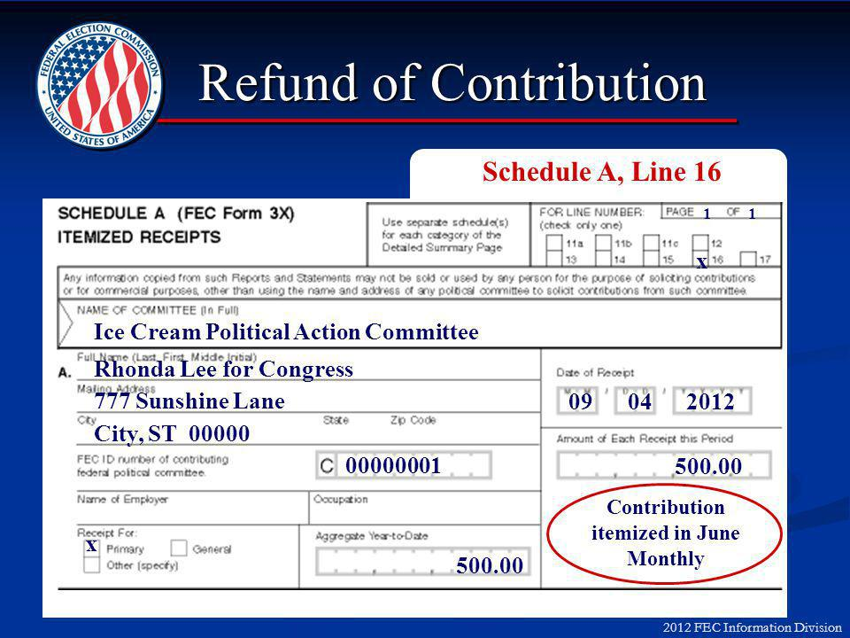 2012 FEC Information Division Refund of Contribution Ice Cream Political Action Committee Rhonda Lee for Congress 777 Sunshine Lane City, ST 00000 09 04 2012 500.00 Contribution itemized in June Monthly x x 1 00000001 500.00 Schedule A, Line 16