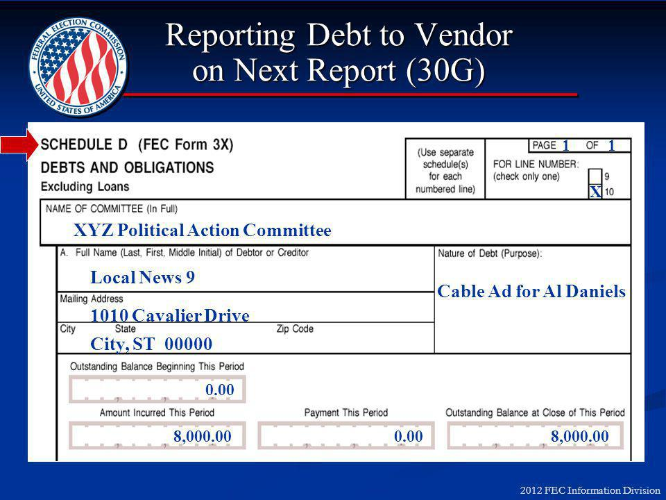 2012 FEC Information Division Reporting Debt to Vendor on Next Report (30G) XYZ Political Action Committee Local News 9 1010 Cavalier Drive City, ST 00000 Cable Ad for Al Daniels 0.00 8,000.00 0.008,000.00 1 X