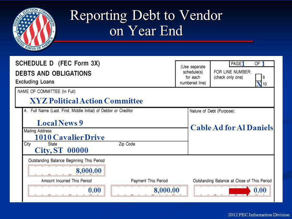 2012 FEC Information Division Reporting Debt to Vendor on Year End XYZ Political Action Committee Local News 9 1010 Cavalier Drive City, ST 00000 Cable Ad for Al Daniels 8,000.00 0.008,000.000.00 1 X