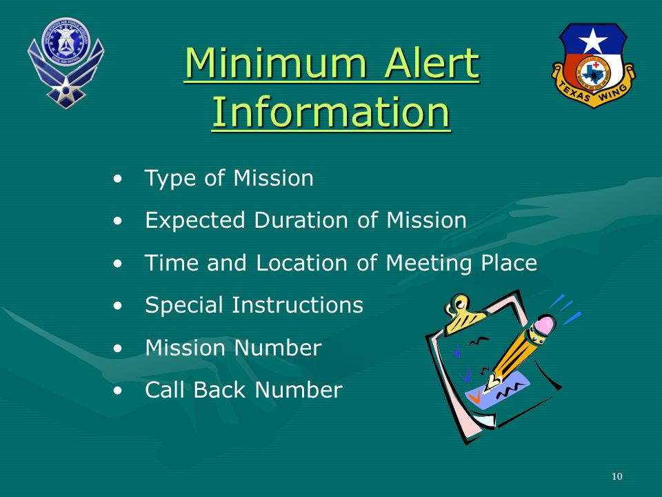 Minimum Alert Information Type of Mission Expected Duration of Mission Time and Location of Meeting Place Special Instructions Mission Number Call Back Number 10