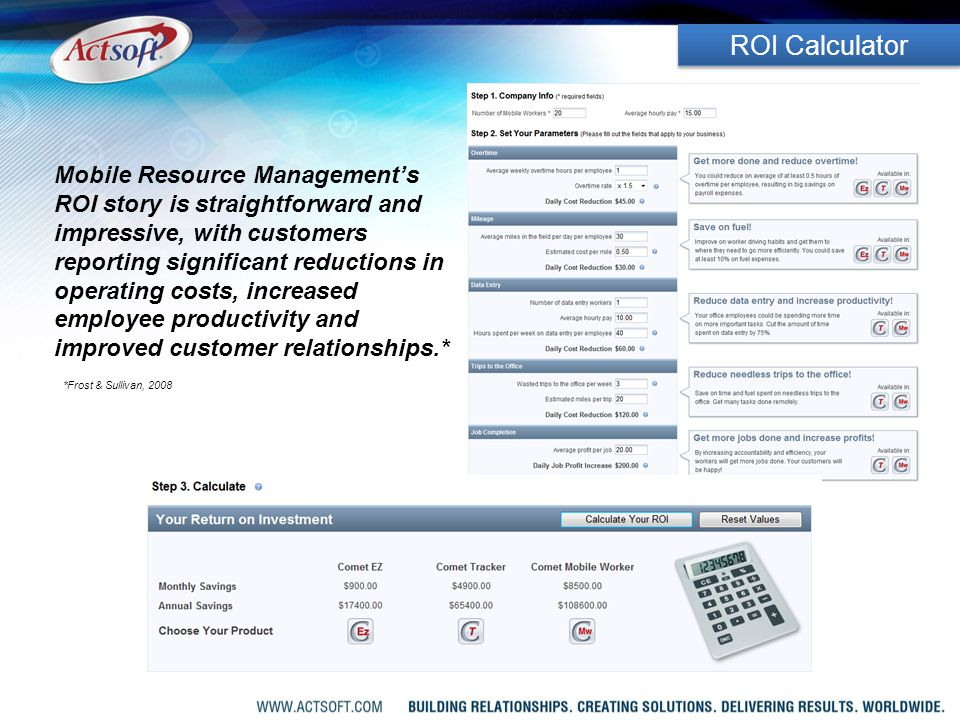 Mobile Resource Management's ROI story is straightforward and impressive, with customers reporting significant reductions in operating costs, increased employee productivity and improved customer relationships.* *Frost & Sullivan, 2008 ROI Calculator