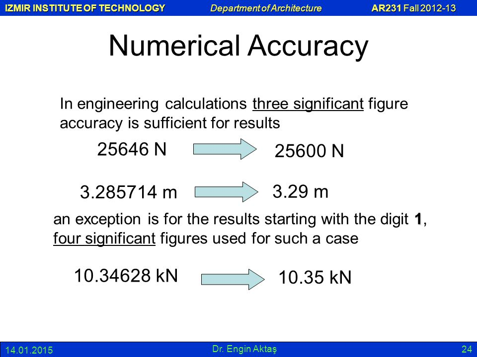 IZMIR INSTITUTE OF TECHNOLOGY Department of Architecture AR231 Fall 2012-13 14.01.2015 Dr. Engin Aktaş 24 Numerical Accuracy In engineering calculatio