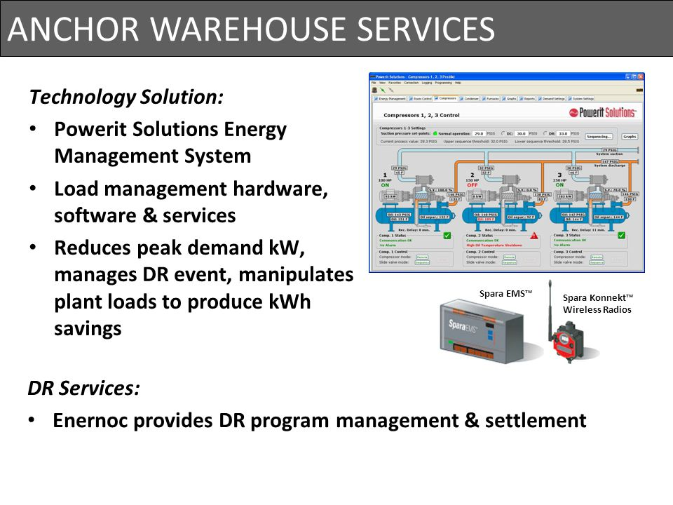 ANCHOR WAREHOUSE SERVICES Project Cost= $825,000 Primary Loads: Wine chillers / Refrigeration Compressors Wine Pumps Nitrogen Compressors Air Conditio