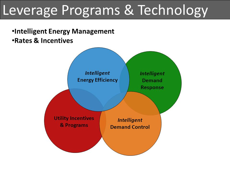 Intelligent Demand Response Intelligent Energy Efficiency Intelligent Demand Control Utility Incentives & Programs Intelligent Energy Management Rates