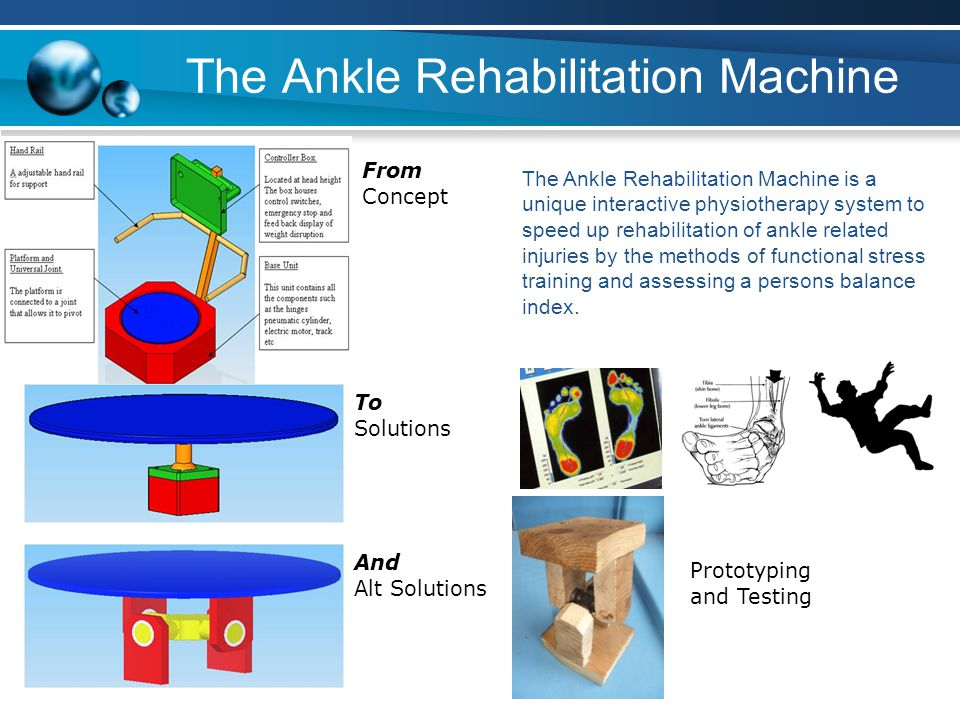 The Ankle Rehabilitation Machine Text From Concept Text The Ankle Rehabilitation Machine is a unique interactive physiotherapy system to speed up rehabilitation of ankle related injuries by the methods of functional stress training and assessing a persons balance index.