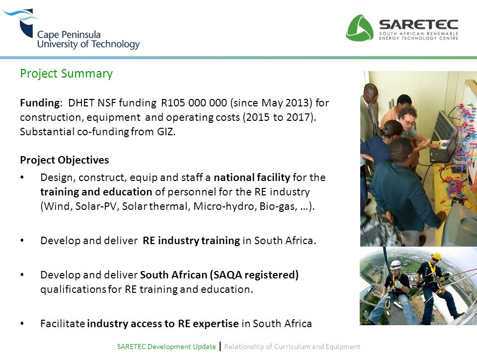 SARETEC CPUT SARETEC Development Update  Relationship of Curriculum and Equipment