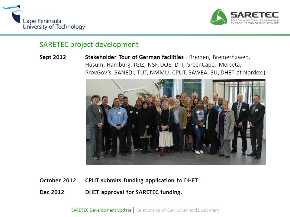 Howard FawkesDieter Sommer Windaba 2014 20 SARETEC - top facility to produce top technicians Function and Concept of Facility  Relationship of Curriculum and Equipment  Project Update – Building Design – SARETEC Ground Floor Design of the new Building Heavy Components Function and Concept of Facility  Relationship of Curriculum and Equipment  Nordex N80 Training of inspection, fault finding and small repairs on all systems Control room Function and Concept of Facility  Relationship of Curriculum and Equipment  Windaba 2014 20 SARETEC - top facility to produce top technicians Howard FawkesDieter Sommer