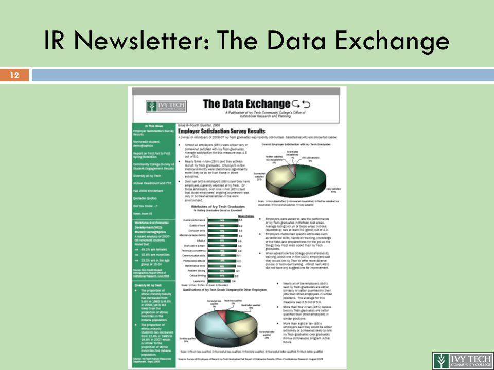 IR Newsletter: The Data Exchange 12