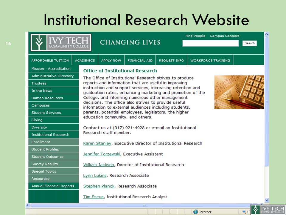 Institutional Research Website 16