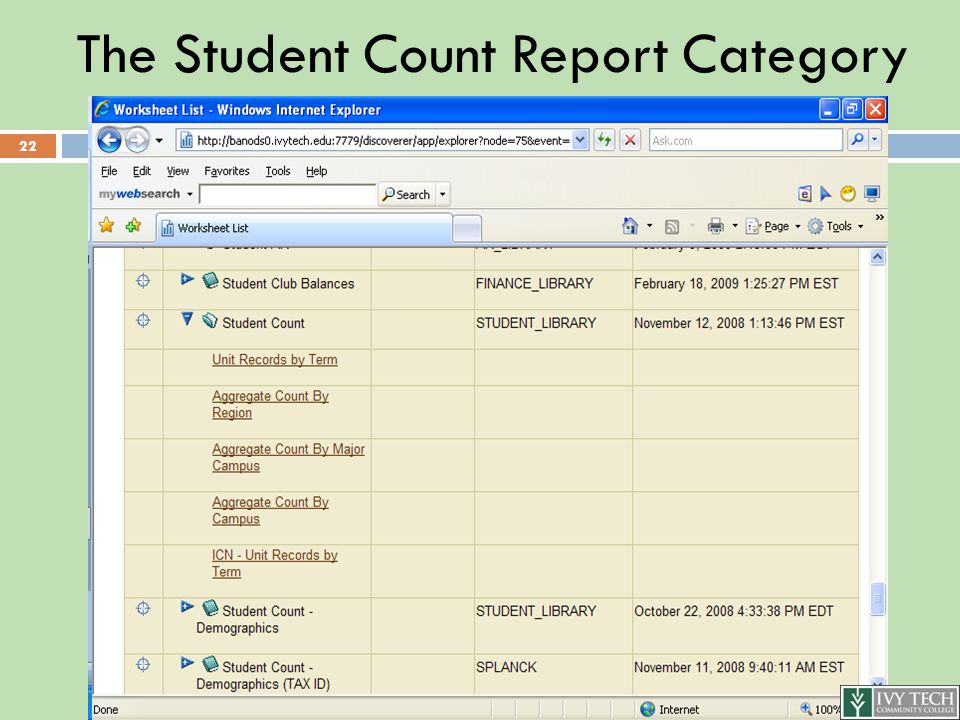 The Student Count Report Category 22