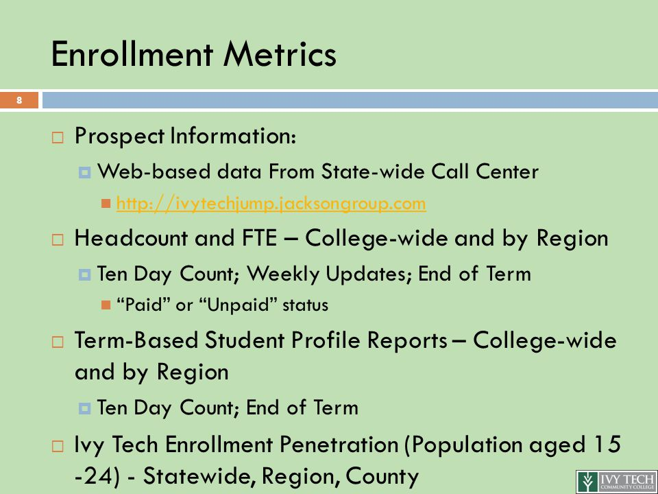 Student Profile Reports  Region-specific reports including standardized student profile reports and charts:  All Students  First-Time  Inbound Transfers  High School / Dual Credit  By School  Includes Definitions Linked-Back to Banner Source (Unit Record) Report for Each Data Category 9