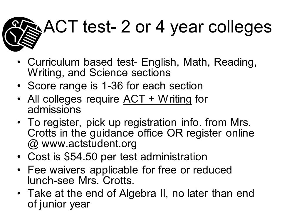 ACT test- more details All current seniors took the ACT test here at Trinity HS for free on March 4 th, 2014.