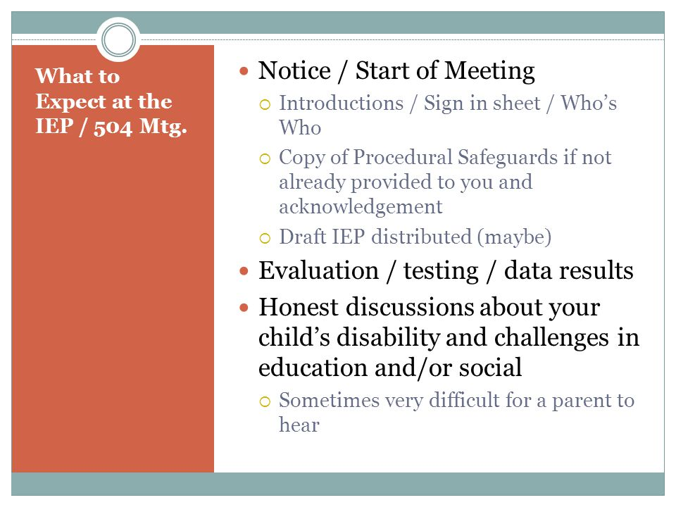 What to Expect at the IEP / 504 Mtg.