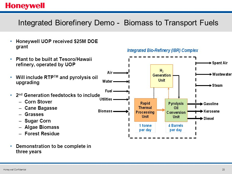 Honeywell Confidential28 Integrated Biorefinery Demo - Biomass to Transport Fuels Honeywell UOP received $25M DOE grant Plant to be built at Tesoro/Hawaii refinery, operated by UOP Will include RTP TM and pyrolysis oil upgrading 2 nd Generation feedstocks to include –Corn Stover –Cane Bagasse –Grasses –Sugar Corn –Algae Biomass –Forest Residue Demonstration to be complete in three years