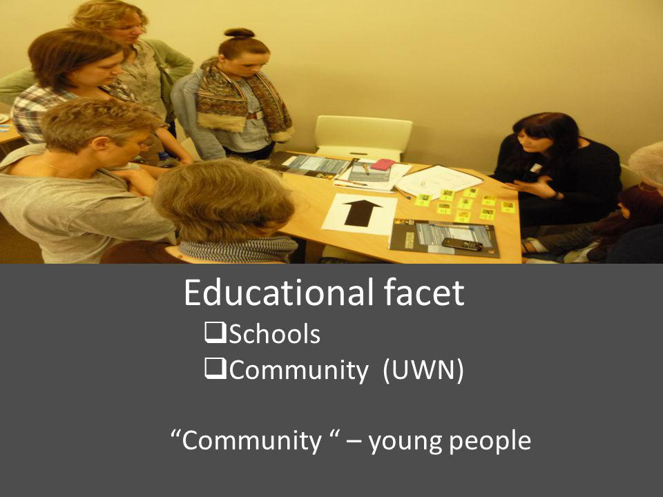 "with 17-18s Educational facet  Schools  Community (UWN) ""Community "" – young people"