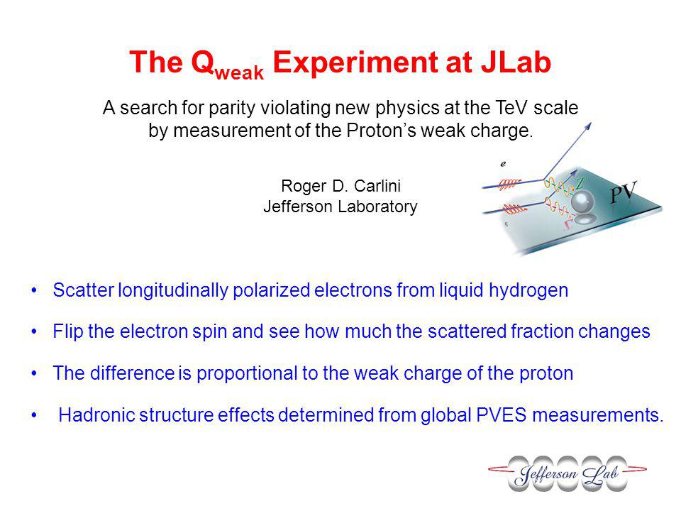 The Q weak Experiment at JLab A search for parity violating new physics at the TeV scale by measurement of the Proton's weak charge.