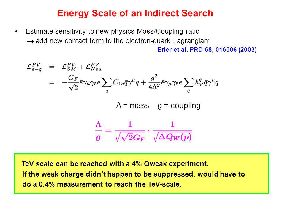 Energy Scale of an Indirect Search Estimate sensitivity to new physics Mass/Coupling ratio  add new contact term to the electron-quark Lagrangian: Er