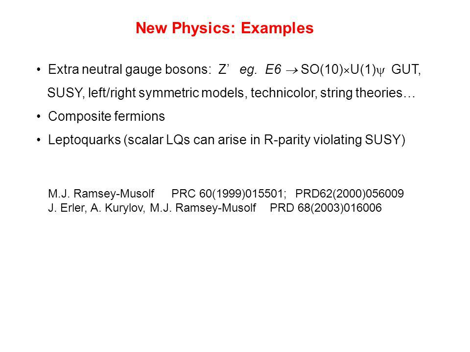 New Physics: Examples Extra neutral gauge bosons: Z' eg.