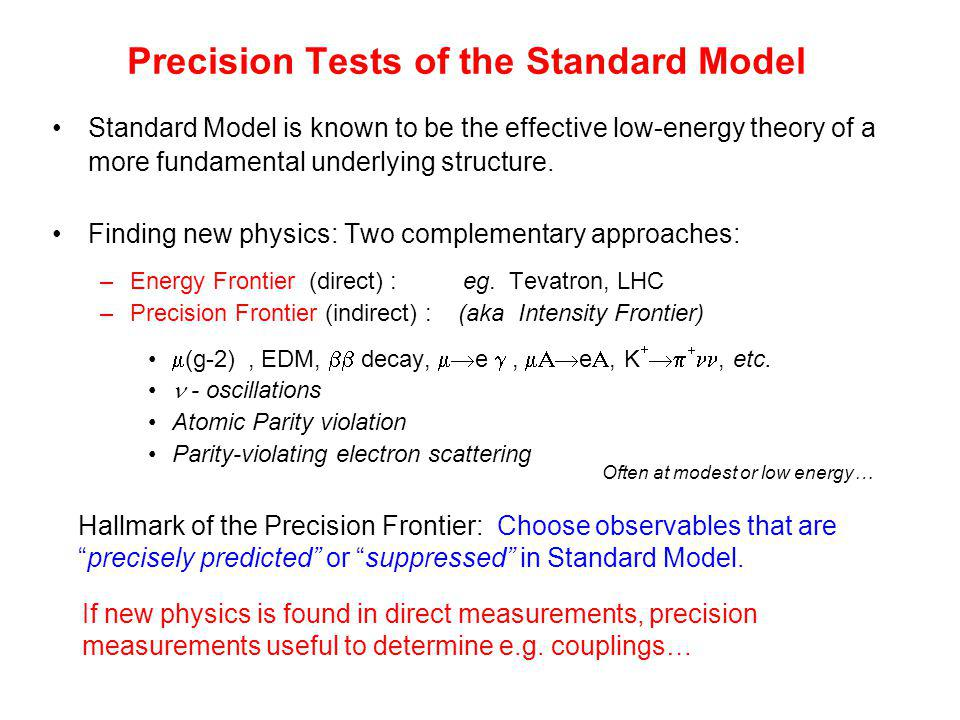 Precision Tests of the Standard Model Standard Model is known to be the effective low-energy theory of a more fundamental underlying structure.