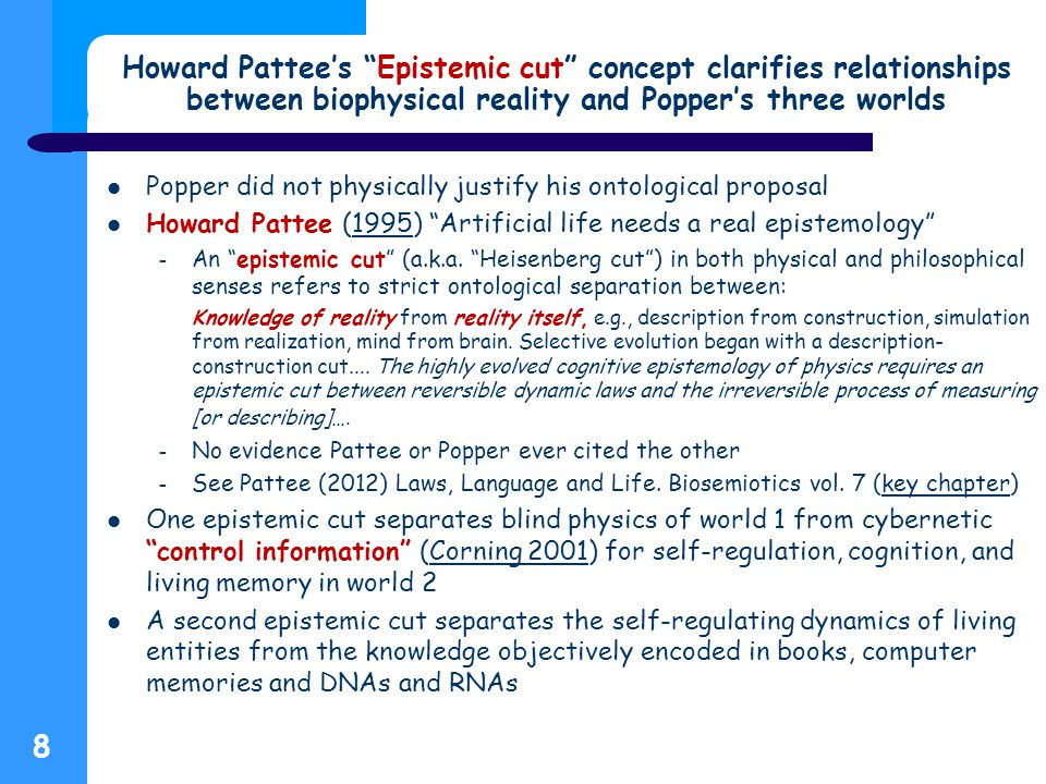Howard Pattee's Epistemic cut concept clarifies relationships between biophysical reality and Popper's three worlds Popper did not physically justify his ontological proposal Howard Pattee (1995) Artificial life needs a real epistemology 1995 – An epistemic cut (a.k.a.