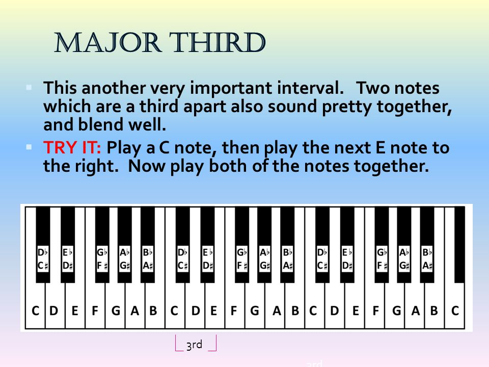 Major Third  This another very important interval. Two notes which are a third apart also sound pretty together, and blend well.  TRY IT: Play a C n